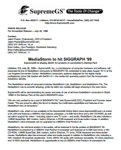 SupremeGS MediaStorm at SIGGRAPH 99 press release