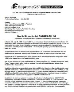 SupremeGS MediaStorm at SIGGRAPH 99 press release