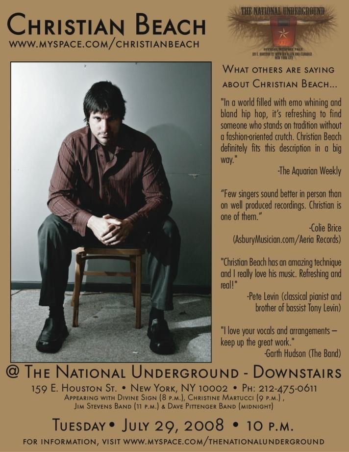 Christian Beach Live @ The National Underground 7-29-08