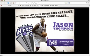 The Sacramento Kings selected Rider's Jason Thompson with the 12th pick of the 2008 NBA Draft.