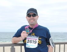 Brian Kelley after completing his first marathon