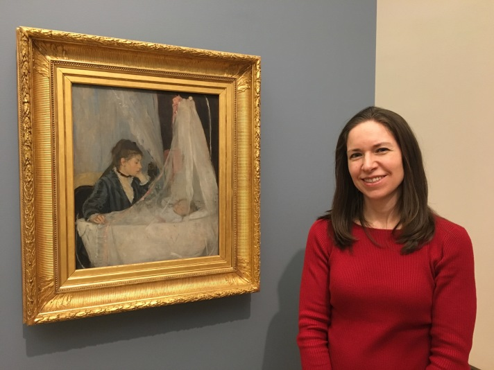 """Alison with Berthe Morisot's """"The Cradle"""""""