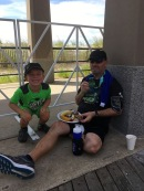 Post-race meal with my son Graham. Photo by Alison Kelley.