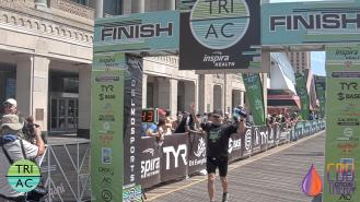 Crossing the finish line. Photo courtesy DelMo Sports/MyLaps.
